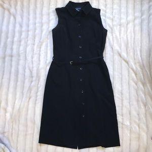 Ann Taylor black sleeveless shirt dress, size 4.